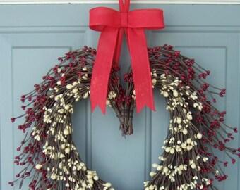 Heart Wreath - Berry Heart Wreath - Valentine Heart Wreath