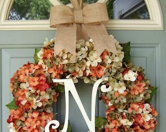Fall Wreath Fall Monogram Wreath Fall Wreath for Door