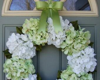Spring Wreath - Spring Hydrangea Wreath - Summer Hydrangea Door Wreath
