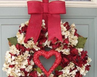 Valentine Wreath -  Valentine Door Wreath - Heart Wreath - Valentines Day Wreath