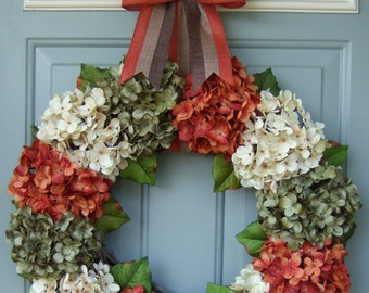 Fall Wreath - XL Fall Hydrangea Wreath - Fall Hydrangea Door Wreath