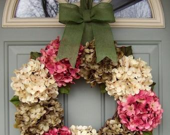 Summer Wreath - Wreath for Summer Door - Summer Hydrangea Wreath - Front Door Wreath