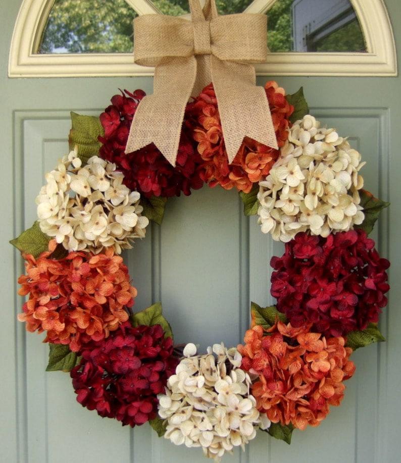 Fall Wreath  Fall Hydrangea Wreath  Fall Hydrangea Door image 0
