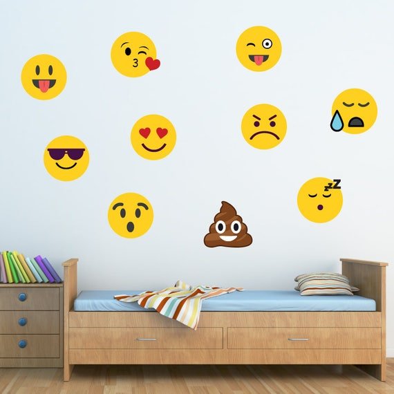 WD76 Emojis Wall Decal Boys Decals Reusable Fabric Decal Nontoxic Ecofriendly PVC Free Decal