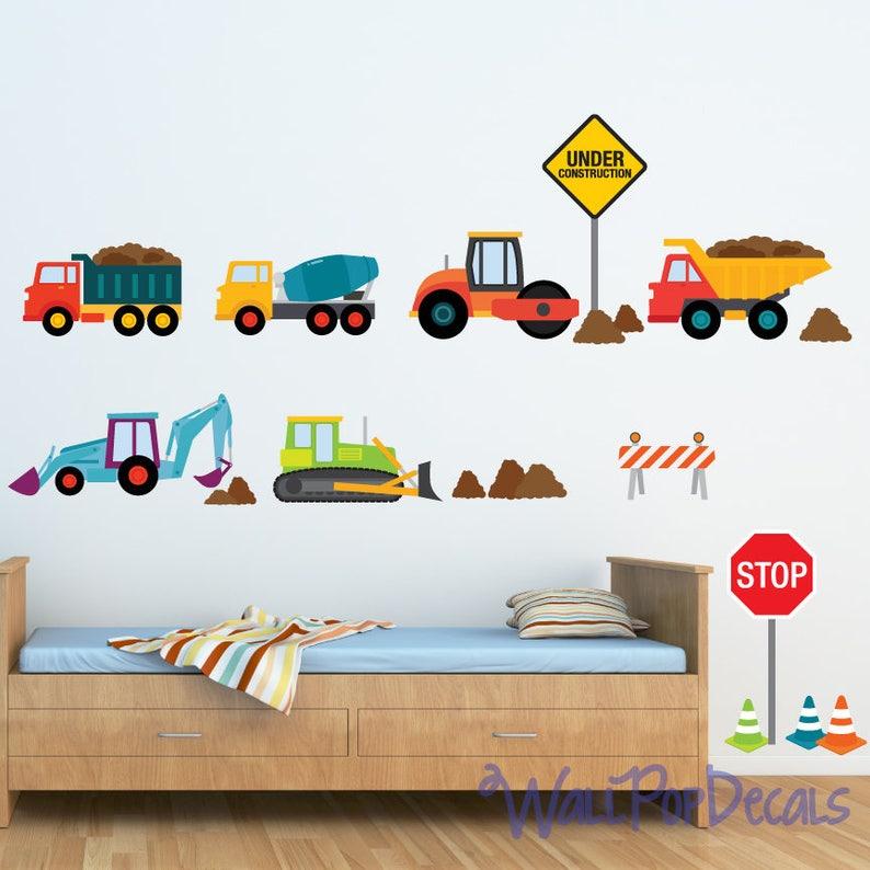 Nursery Décor Brilliant Construction Vehicle Kids Wall Decal Nursery Boys Decor Stickers Art Mural Gift