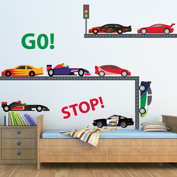 Race Car Wall Decal Nursery Wall Decal Reusable Decal Non Toxic Fabric Wall Decals For Kids Wd45