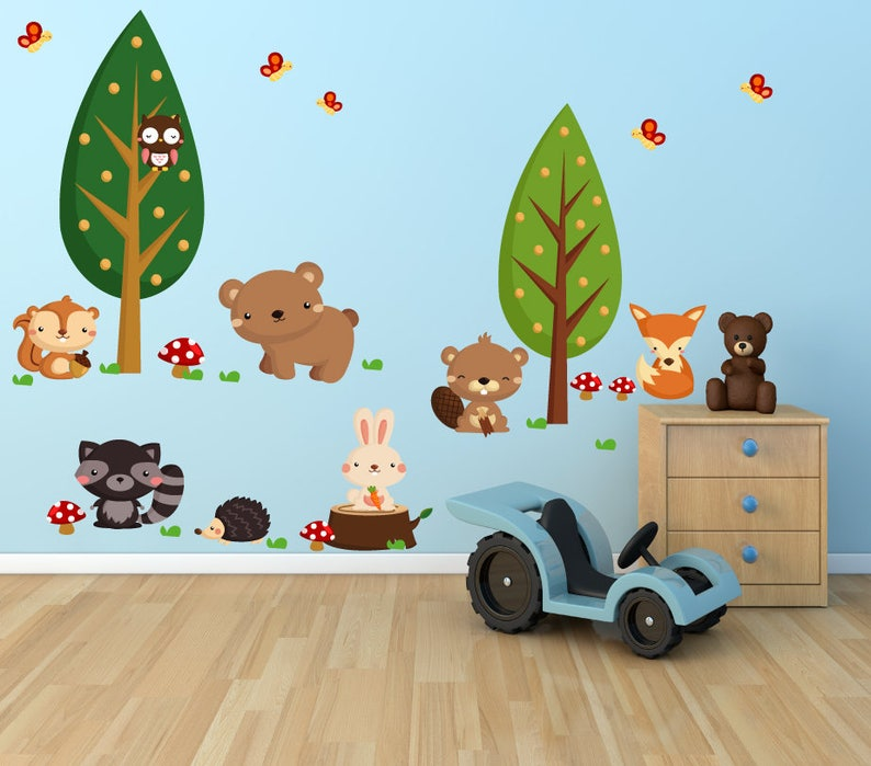 Fabric Wall Decal Forest Wall Decal Woodlands Wall Decal WD71