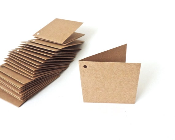 25 folded gift tags kraft paper mini cards blank 2 inch etsy