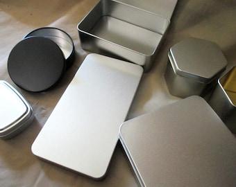 Tin Containers, multiple sizes - Craft Tin, Gift Tin, Stash Container, Tin Box