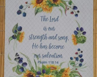 Bible Verse Mouse Pad, Psalm 118:14, Sunflower Mouse Pad, Scripture Mouse Pad, Christian Mouse Pad, The Lord Is My Strength and My Song