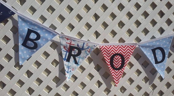 Nautical Banner Red White Blue Sail Boat Birthday NAME Etsy