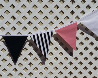 Kate Spade Party, Black and Pink Decorations, Bunting, Flag, Fabric Banner Birthday, Bridal Shower Kate SpadeGarland Baby Shower, Photo Prop
