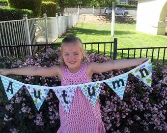 NAME Banner,Purple and Green Banner, Fabric NAME Banner, Birthday Banner, Baby Shower Banner, Bridal Shower Banner, Nursery Decor Banner