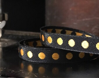 """Black and Copper Dots ribbon 3/8"""" sold by the Yard"""