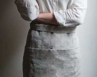 Linen Apron With Pockets. Half Apron. Gardening Apron. Personalized.