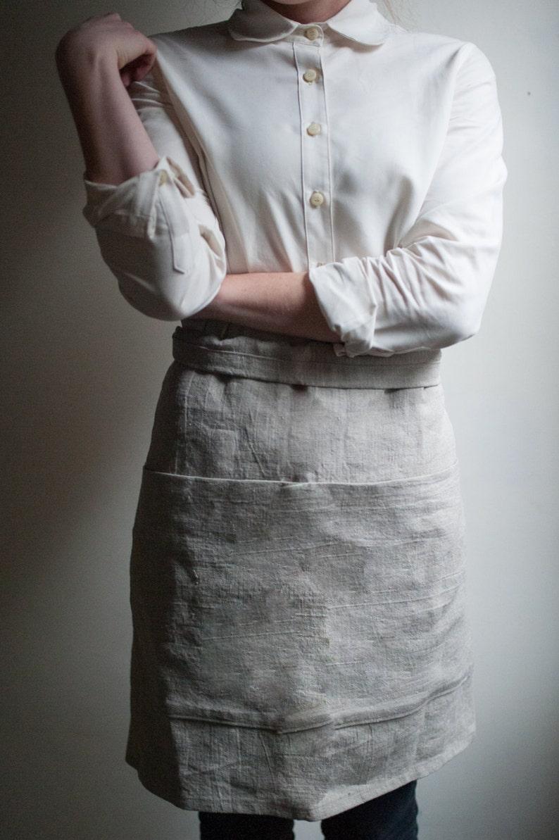 Linen Apron With Pockets. Half Apron. Gardening Apron. image 1