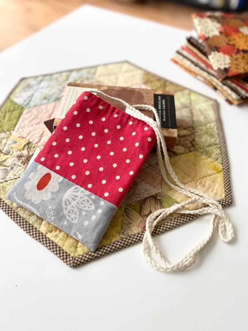 passport Mini Crossbody Small Bag with knitted strap handle Mini crossbody for kids Linen crossbody Handmade gift Good for phone