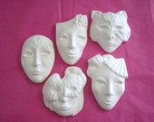 Price includes shipping 5-Mini Face Mask Pins or Pendants Ornaments Ceramics Poured by CrazyOldLadyJC