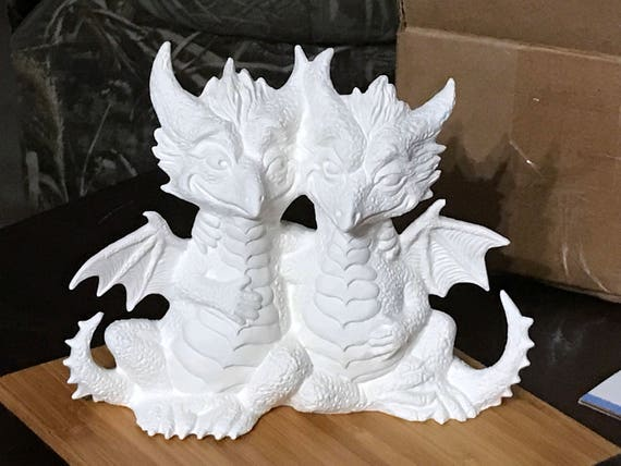 Paint it Yourself Twin Dragons Ceramics Poured from a Mold by CrazyOldLadyJC