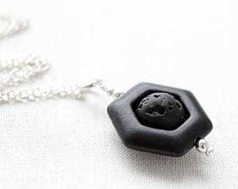 fathers day gift Raw Stone Necklace Essential Oil Diffuser Necklace Lava Necklace Geometric Necklace Black Stone Aromatherapy Necklace