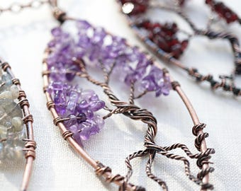 Raw Amethyst Tree of Life Necklace Wirewrapped Gemstone Tree of Life Pendant Bonsai Tree Family Tree Personalized mens custom necklace