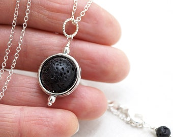 ON VACATION, Full Moon Necklace Natural Raw Black Lava Stone Ball Essential Oil Sterling Diffuser aromatherapy gift for men