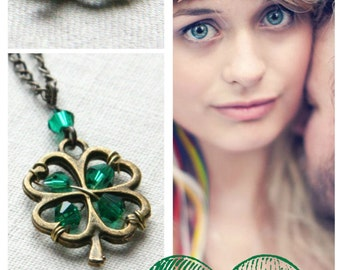 ON VACATION, St Patricks Day Gift St Patricks Day Necklace 4 Four leaf clover Jewelry Irish Shamrock Good Luck Charm Green Crystal