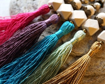Pick Color Long Tassel Necklace Colorful Silk Tassel Necklace Geometric Wood Beads Long Chain Boho Fashion Bohemian mens custom necklace