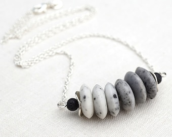 Raw Stone Necklace White Gray Ombre Stone Necklace Bar Black Lava Stone Necklace Sterling Silver Modern Minimalist Simple Necklace