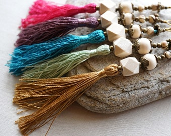 ON VACATION, Mixed Beaded Tassel Necklace with silk Tassel and Geometric Wooden Beads on Antiqued Bronze Chain bright modern
