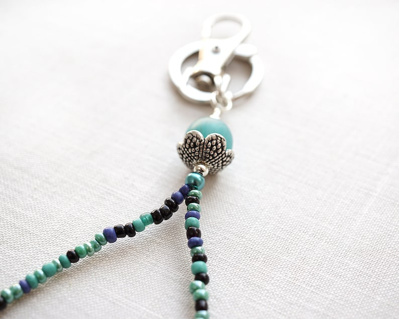 id badge lanyard mothers day gift mom teacher lanyard thin beaded gift for friend coworker Custom Lanyard Necklace Teal Blue Silver