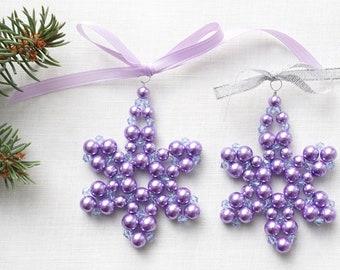 ON VACATION, Modern Christmas tree ornament purple Pearl Beaded Snowflake Stocking Stuffer Crystal Star folk christmas decor