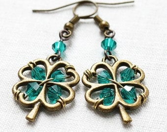 ON VACATION, St Patricks Day Earrings 4 leaf clover Four Leaf Clover Jewelry Irish Shamrock Good Luck Charm Green Crystal