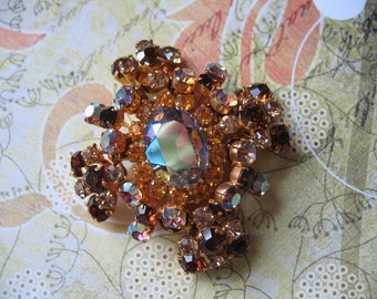 Amazing Iridescent Austrian Crystal Brooch
