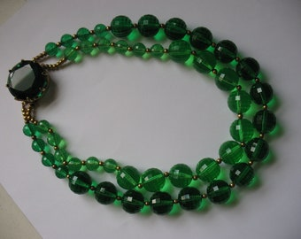 Glamorous Green Faceted Crystal Bead Necklace