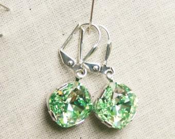Handmade Green Earrings Swarovski Chrysolite Earrings Chrysolite Cushion Stone Swarovski Green Earrings Swarovski Light Green Bridesmaid