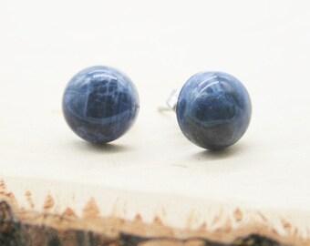 Sterling Silver Sodalite Crystal Stud Earrings Sodalite Wire Wrapped Sterling Silver Studs 6mm
