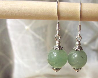 Handmade Green Earrings Green Aventurine Earrings Green Gemstone Earrings Aventurine Dangle Earrings Light Green Earrings Green Stone