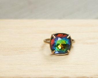 Vitrail Ring Swarovski Vitrail Ring Swarovski Cushion Stone Ring Vitrail Crystal Ring Swarovski Crystal Ring Gold Vitrail Ring