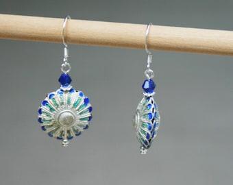 Handmade Earrings Blue Earrings Blue Cloisonne Earrings Blue Silver Earrings Cloisonne Dangle Earrings Blue Dangle Earrings Silver Dangle