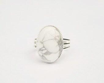 White Stone Ring White Howlite 10 mm Round Ring Sterling Silver Statement Ring Silver Ring Howlite Ring Gemstone Ring Women Ring