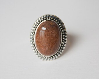 Chrysanthemum Stone Ring Brown Stone Ring Brown Gemstone Ring Chrysantemum Ring