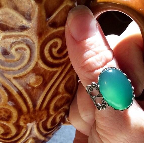 Gruner Achat Ring Grun Stein Ring Antik Filigran Ring Gruner Etsy