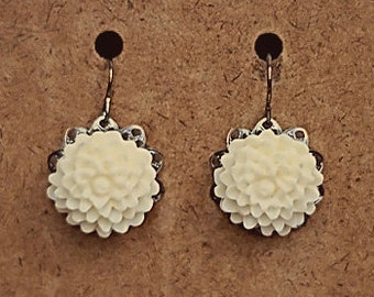 Handmade Ivory Flower Earrings Ivory Resin Flower Earrings Gunmetal Filigree Earrings