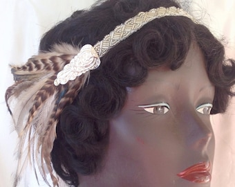 1920's silver headband and brown striped vintage feather flapper headpiece 1920's style headdress with vintage beadwork - ready to ship