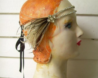 eleanor in beige and black - flapper headband of vintage rhinestones, vintage rhinestone button and black feathers- made to order