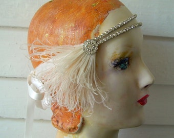 eleanor in ivory - flapper headband of vintage rhinestones, vintage rhinestone button and ivory and blush feathers- made to order