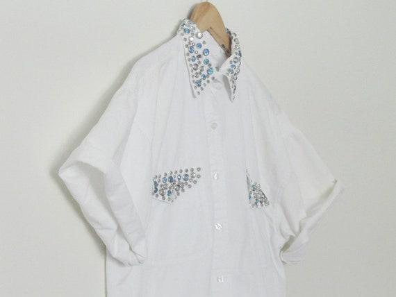BEDAZZLED 1990s Oversized Bejeweled Novelty White