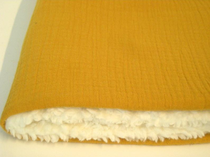 Cuddle blanket muslin mustard yellow/ochre with teddy plush  image 0