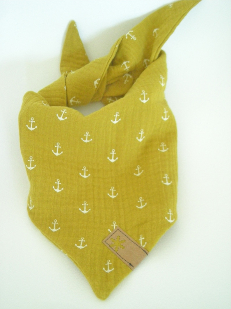 Muslin intuit mustard yellow b/curry with anchors  image 0